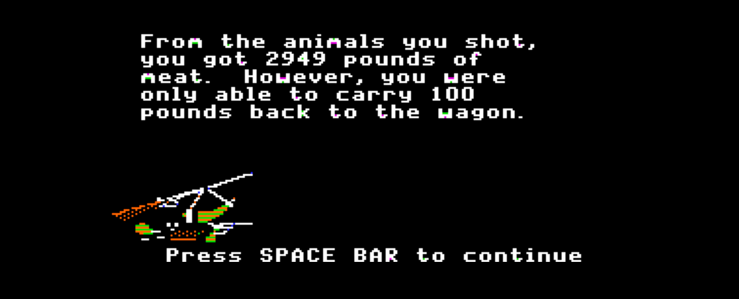 Screenshot from Oregon Trail computer game. From the animals you shot, you got 2949 pounds of meat but were only able to carry 100 pounds back to the wagon.